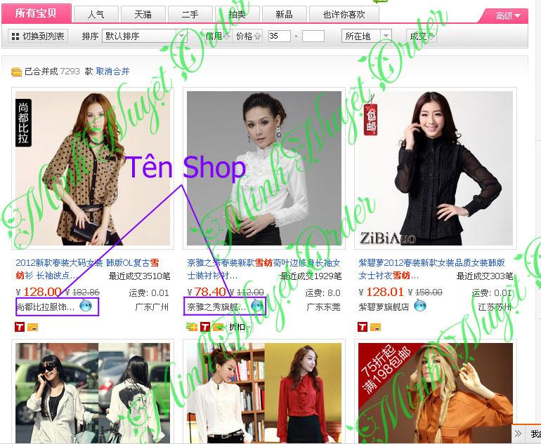 Hướng dẫn chọn shop trên taobao